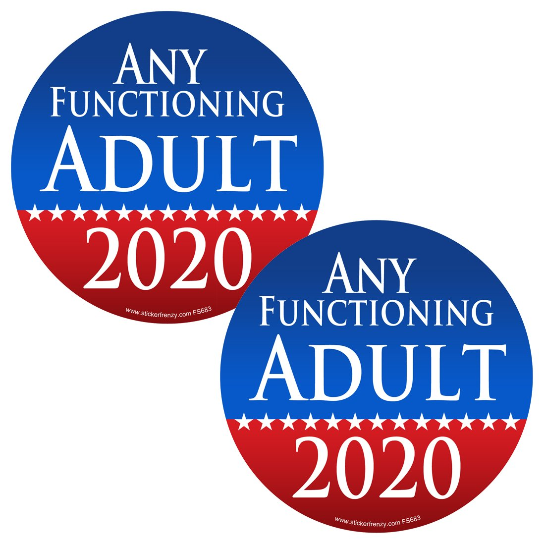 Az house of graphics 2 pack round any functioning adult 2020 2 pack stickers fs683 laminated political funny bumper car truck window election vinyl