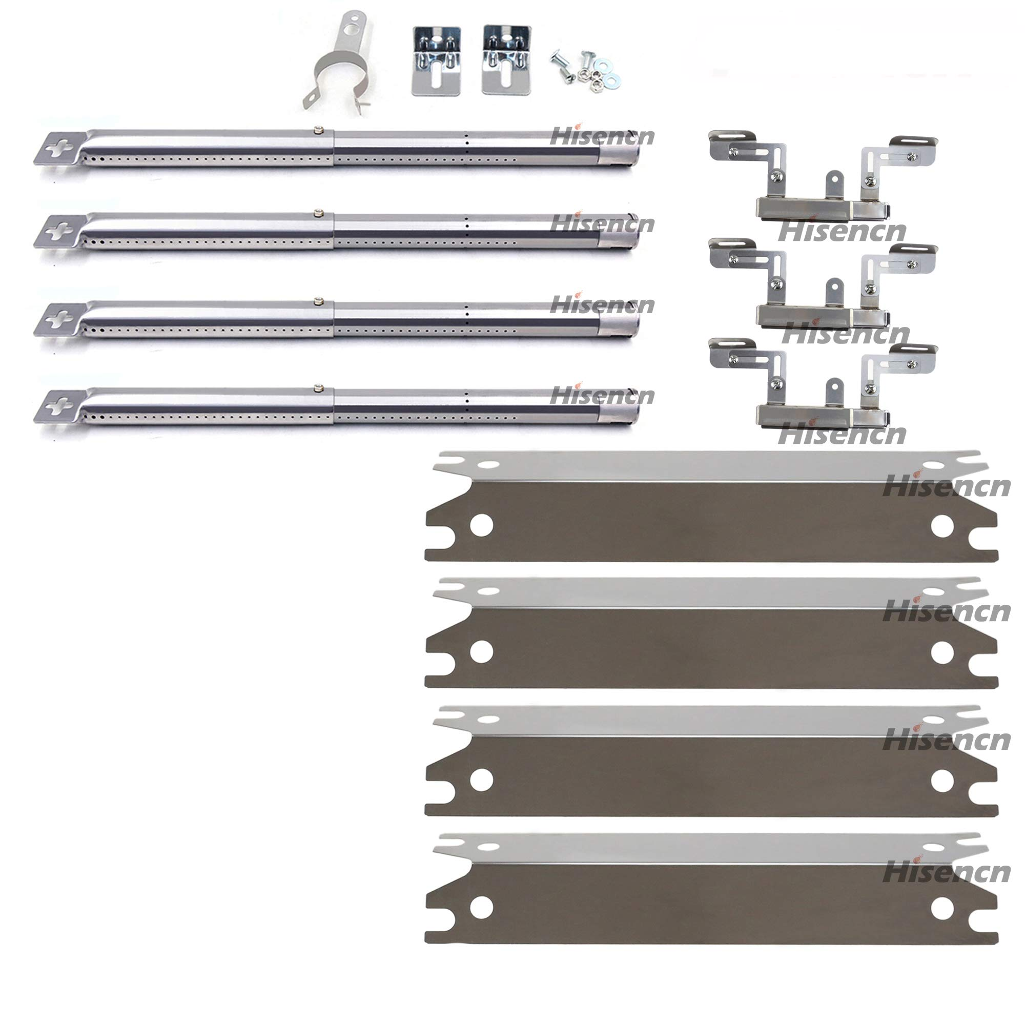 Hisencn Stainless Steel Heat Plates, Burners and Carryover Tube Replacement Parts for Brinkmann 810-2410-S, 810-2411-F, 810-2411-S, 810-3885-F, 810-3885-S, 810-4238-0, 810-9490-0 Gas Grill Models