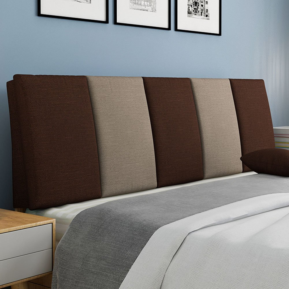 QIANGDA Backrest Cushion Flax Lumbar Support Bedside Soft Mat Detachable And Washable For Single/double Bedroom, 7 Stripe Colors, 7 Sizes Available (Color : 3#, Size : 120 x 5 x 55cm)