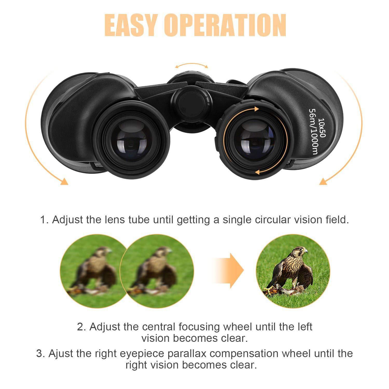 Binoculares 10 x 50, SGODDE Binoculares de Ampliación, Zoom Impermeable Ultra HD FM para la Observación de Aves Paisaje de Caza de Fútbol con ...