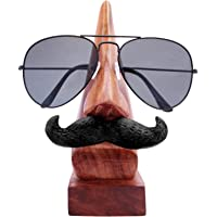 ITOS365 Handmade Wooden Nose Shaped Spectacle Specs Eyeglass Holder Stand with Moustache