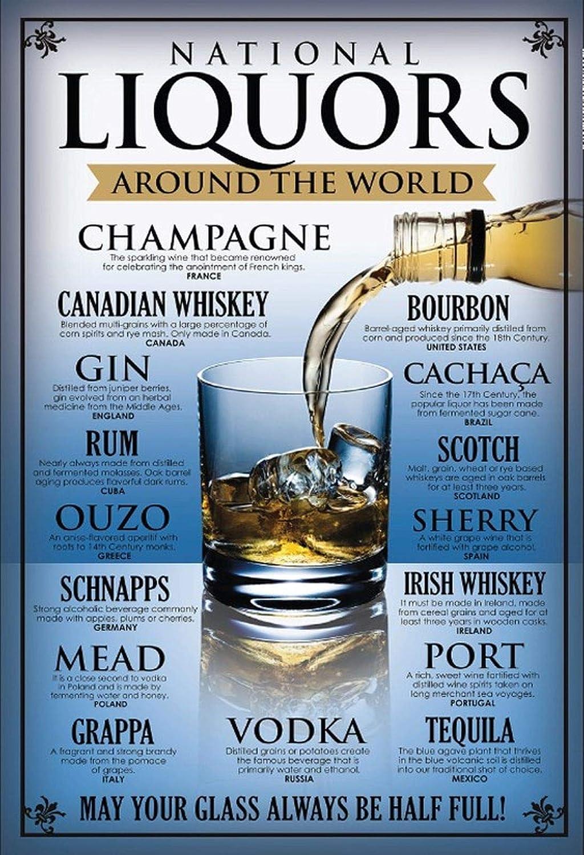 BlechschilderWelt Plaque en t/ôle Liquors Around The World Rum Ouzo Gin Vodka Whisky Alcool