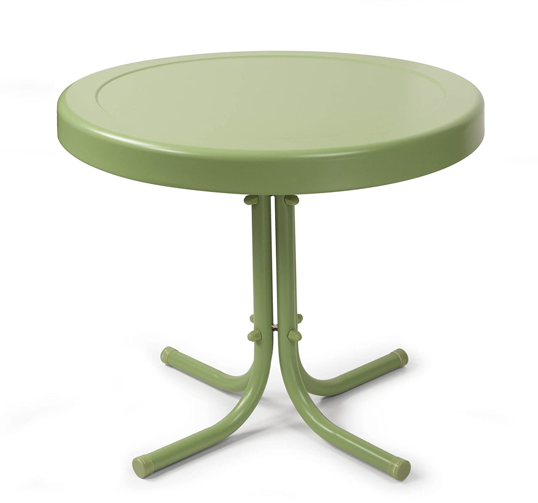 amazoncom crosley furniture gracie retro inch metal outdoor  - amazoncom crosley furniture gracie retro inch metal outdoor side table oasis green kitchen  dining
