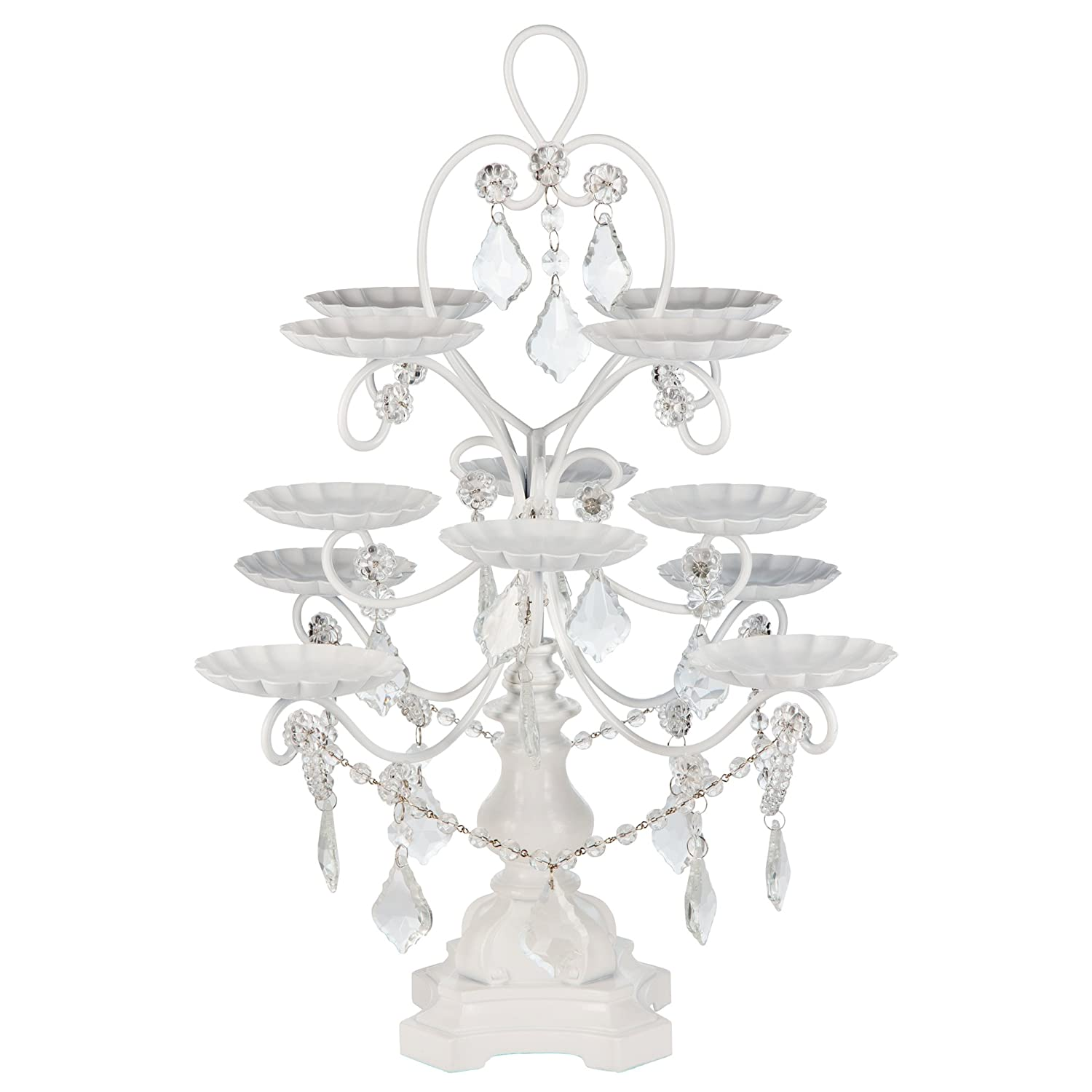 Amazon madeleine collection 12 piece cupcake stand dessert amazon madeleine collection 12 piece cupcake stand dessert display tower with crystal dangles white cupcake stands arubaitofo Image collections