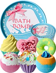 Aofmee Bath Bombs Gift Set, Handmade Bubble and Floating Fizzies Spa Kit, Shea and Cocoa Dry Skin Moisturize, Birthday Valentines Mothers Day Anniversary Christmas Gifts for Women, Mom, Her, Kids