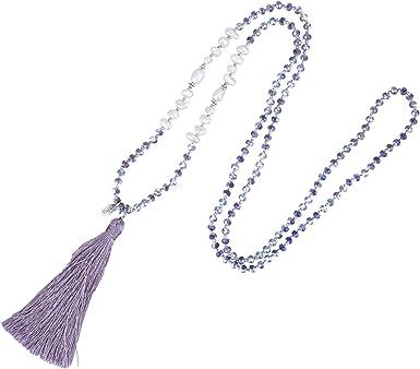 sister birthday gift BLUE long tassel fringe boho necklace bohemian necklace