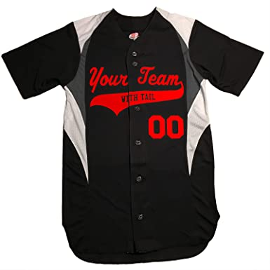 e6b28e7c 3 Color Customized Baseball Jersey Adult 2X-Large in Black and Scarlet