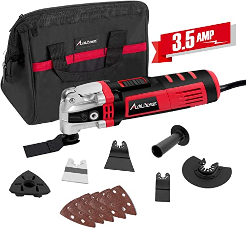Oscillating Tool, 3.5-Amp Oscillating Multi Tool with 4.5 Oscillation Angle, Variable Speeds and 13pcs Accessories, Avid Power ADMT146