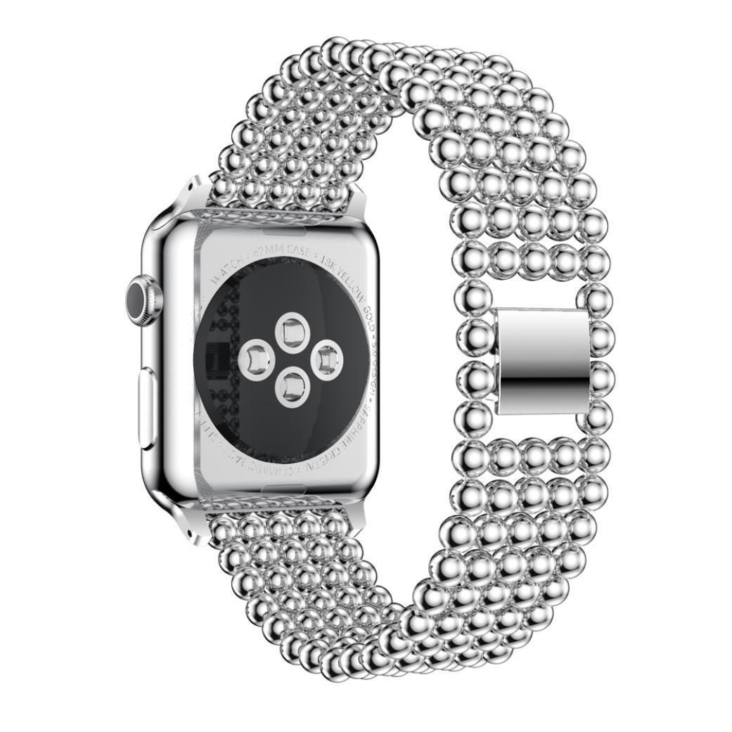 Creazyステンレススチール時計バンド交換用ストラップfor Apple Watchシリーズ1 / 2 38 mm & 42 mm 42mm|シルバー シルバー 42mm B0725Z7Q6F