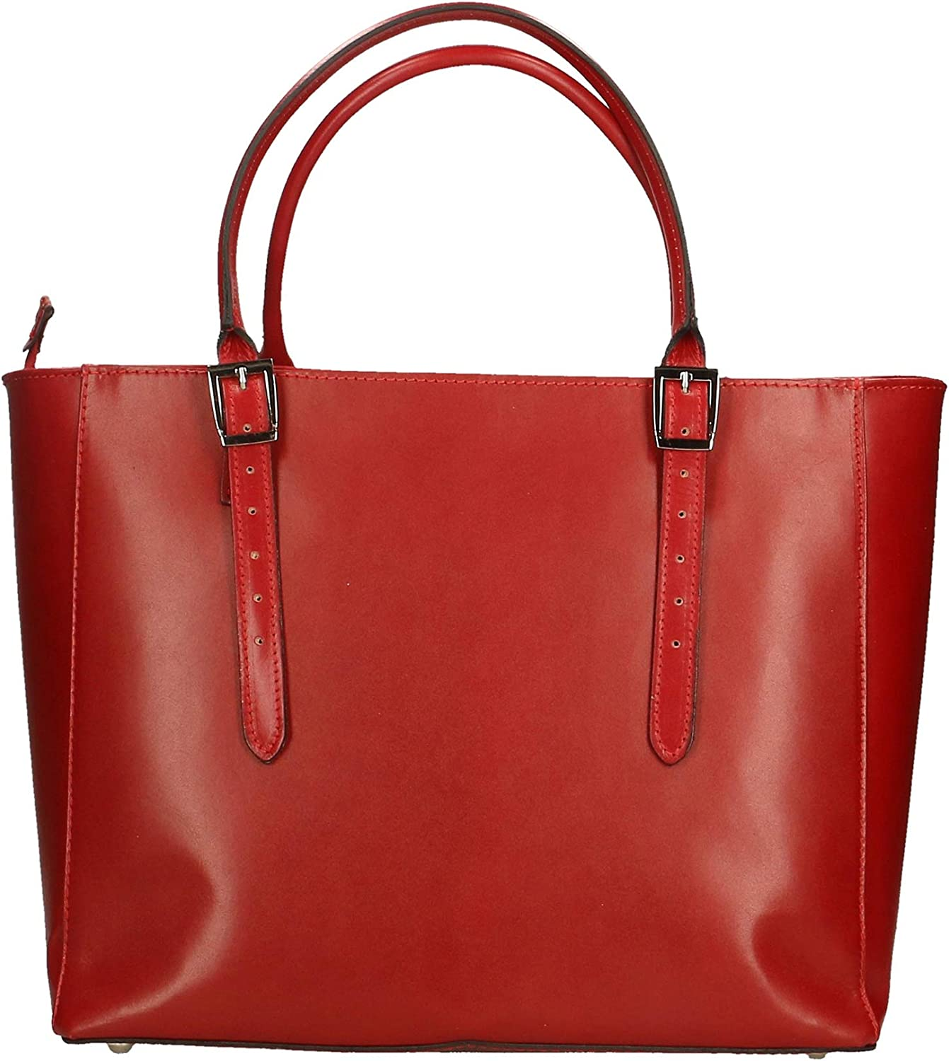 Chicca Borse Bag Borsa a Mano in Pelle Made in Italy 40x28x18 cm Rosso