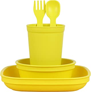 product image for Re-Play Made in The USA Eco Friendly Dinnerware Set for Toddlers and Children - Drinking Cup, Deep Walled Plate, Bowl and Spoon & Fork Set (Yellow)