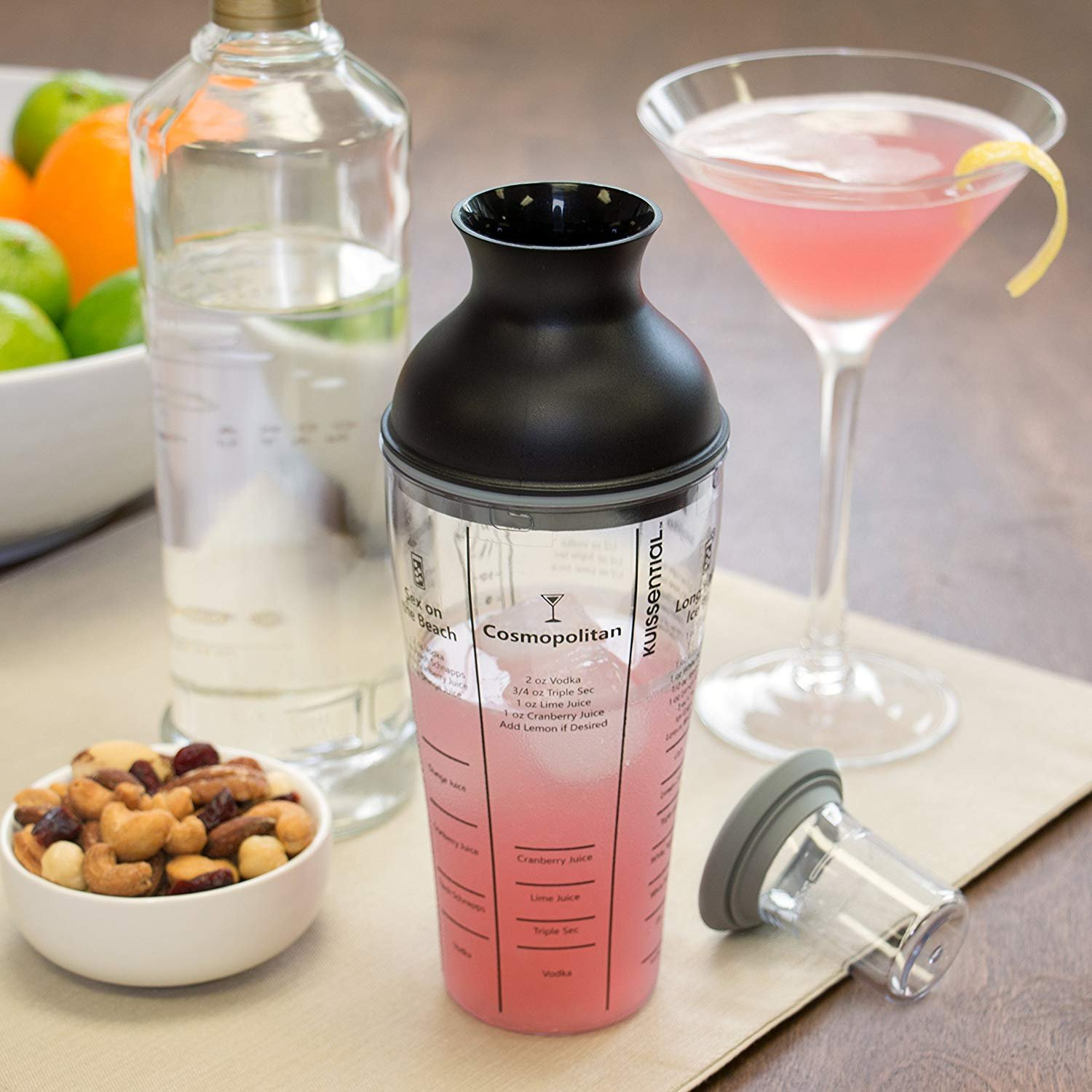 Recipe Cocktail Shaker 16oz Includes 6 Mixed Drink Recipes Jigger Strainer
