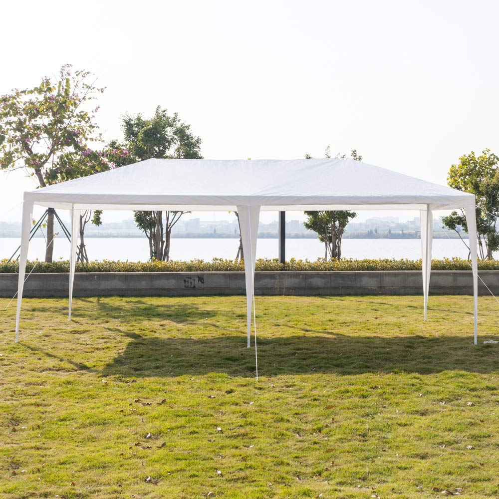 Boylymia 10' x 20'Outdoor White Waterproof Gazebo Canopy Tent with 6 Removable Sidewalls and Windows Heavy Duty Tent for Party Wedding Events Beach BBQ by Boylymia