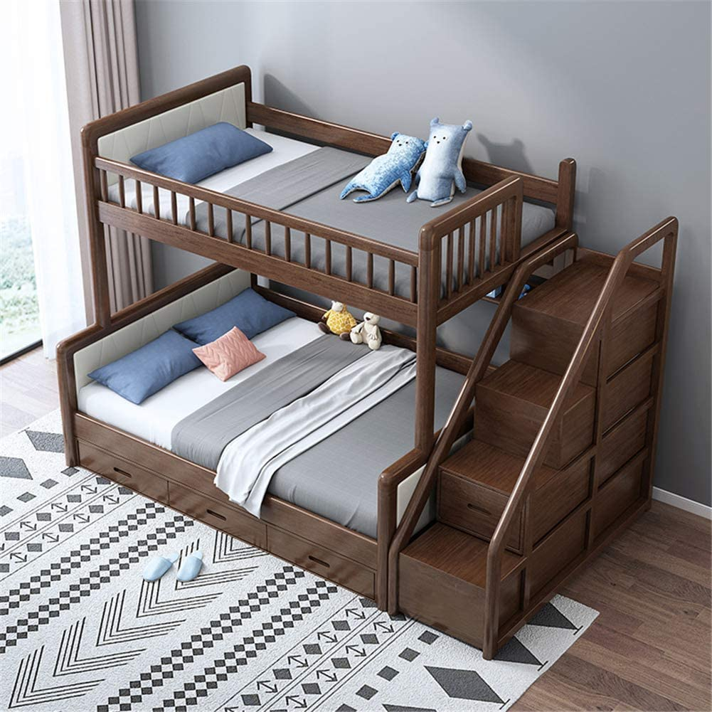 Amazon.com: Twin Over Full Loft Beds, Bunk Beds Twin Over Full with Stairway and Storage,Solid Wood Twin Bunk Bed Frame Walnut,1.5 x 2m: Home & Kitchen