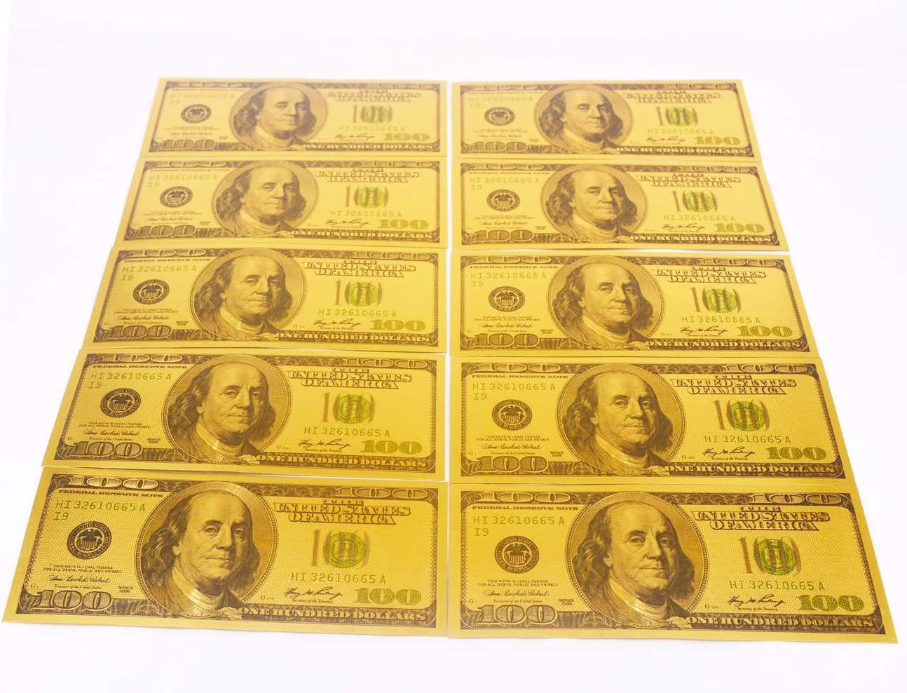 Gold Foil US $10000 Dollar Banknote Commemorative Paper Money Collection Acces