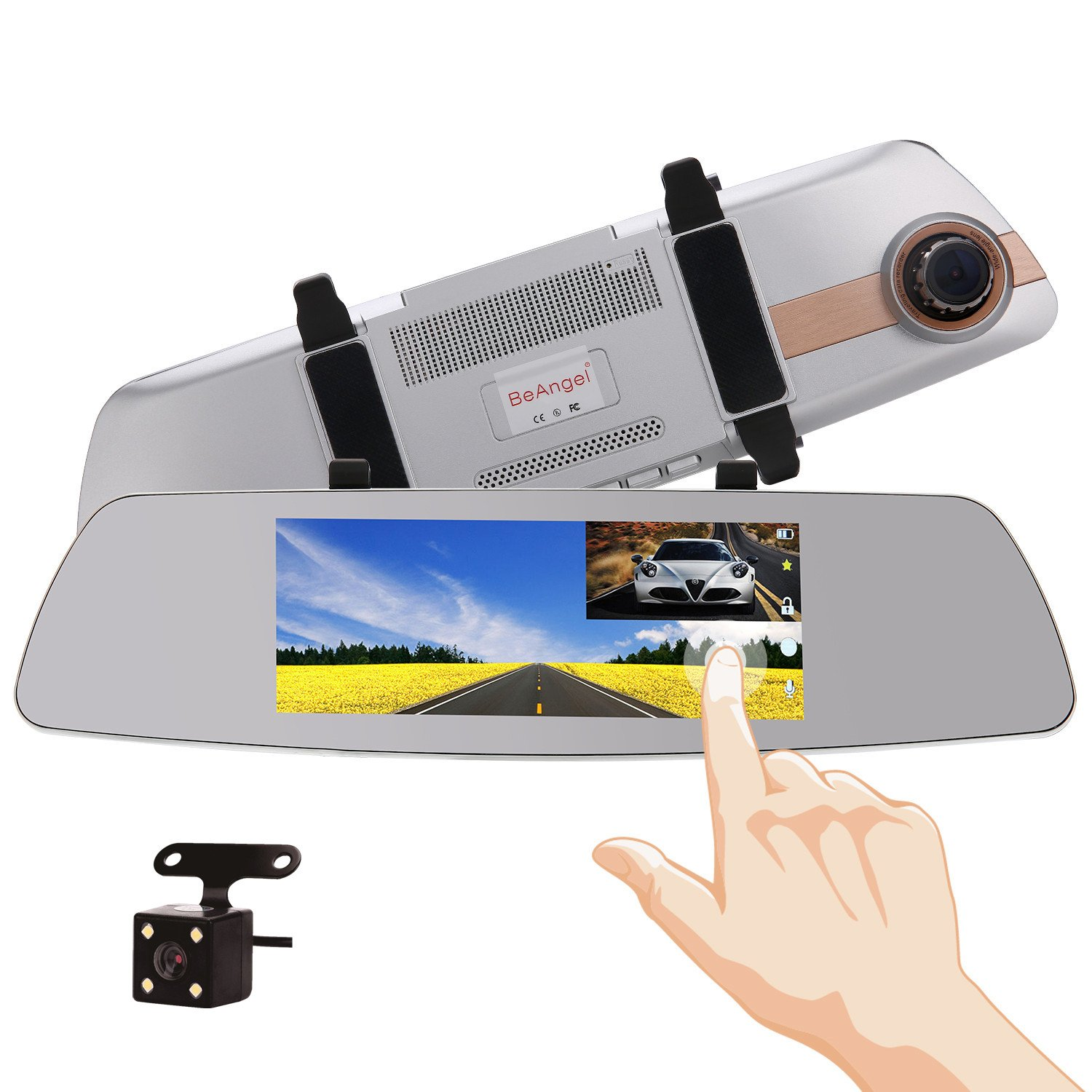 7 Inch Touch Screen Rearview Mirror Car Camera 7'' Dash Car DVR Cam Front and Rear Dual Lens Night Vision Video Recorder Reversing Backup Camera