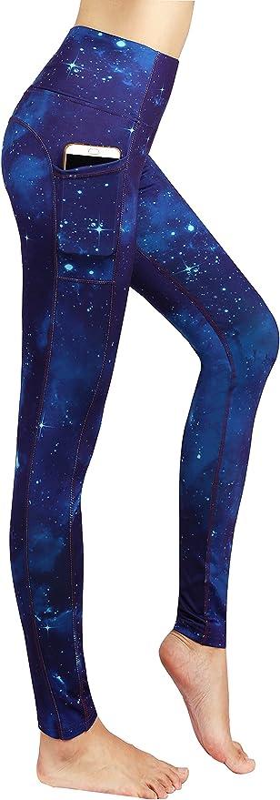 Neonysweets Womens Printed Tummy Control Yoga Workout Leggings Pockets
