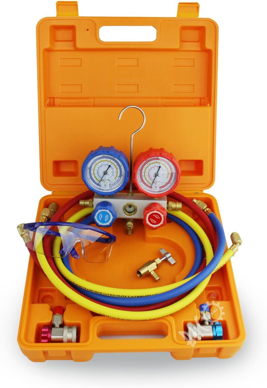 BACOENG Manifold Gauge Kit Manómetro AC Colector de Medición R134A R410A R407C R22 Refrigerantes