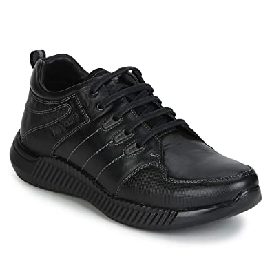 71d8d53fddde8 Red Chief Men's Black Leather Sneakers-10 UK (44 EU) (RC20001_001_10)