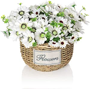 Artificial Flowers Arrangement, Silky Fake Daisy Flowers in Handmade Baskets for Home and Office Centerpieces Decor (White Daisy)