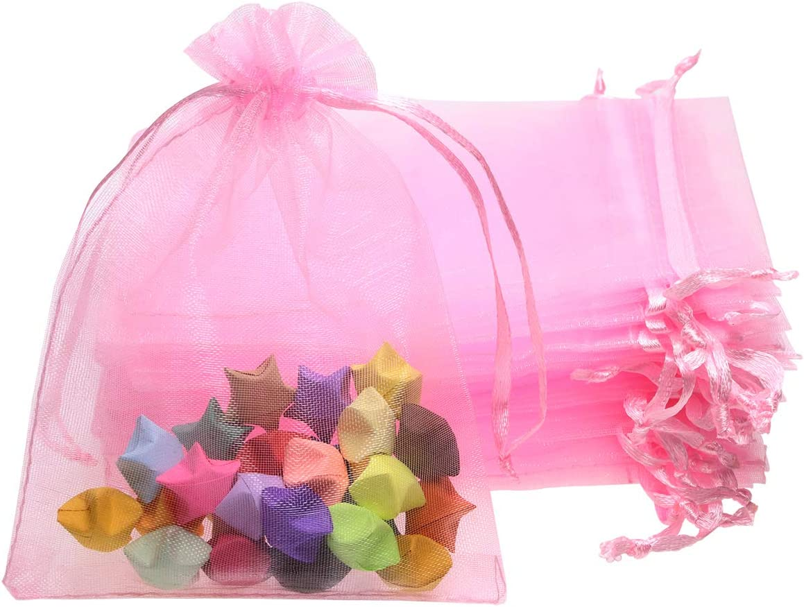 Amazon Com Shapenty 50pcs Organza Gift Bags Wedding Favor Candy Business Samples Display Jewelry Pouch Wrap With Drawstring For Baby Shower And Birthday Party Pink Everything Else