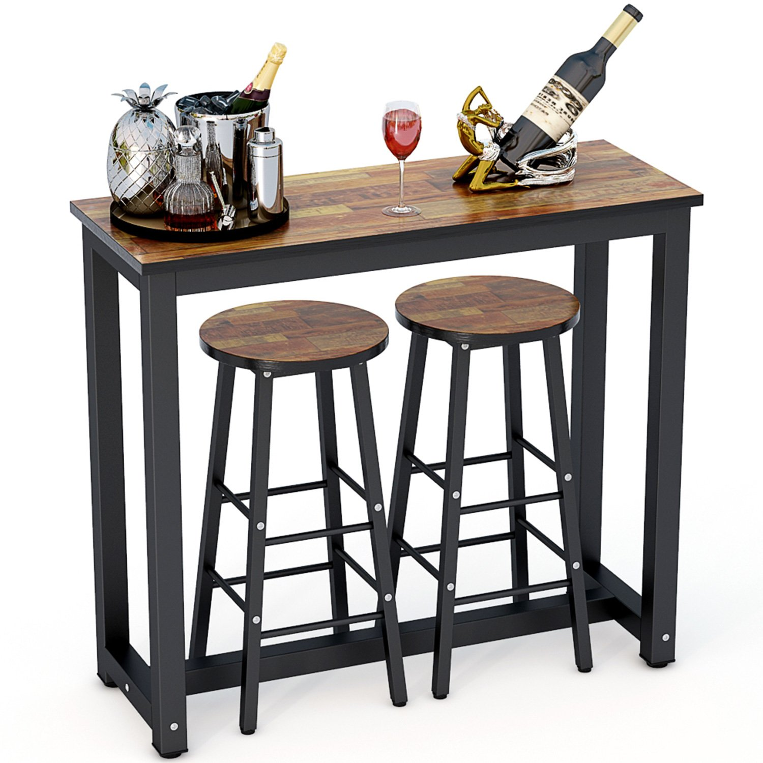 Tribesigns 3-Piece Pub Table Set, Counter Height Dining Table Set with 2 Bar Stools for Kitchen Nook, Dining Room, Living Room, Small Space