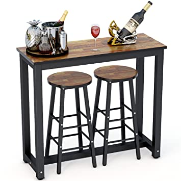 tribesigns 3 piece pub table set counter height dining table set with 2 bar - 3 Piece Pub Table Set