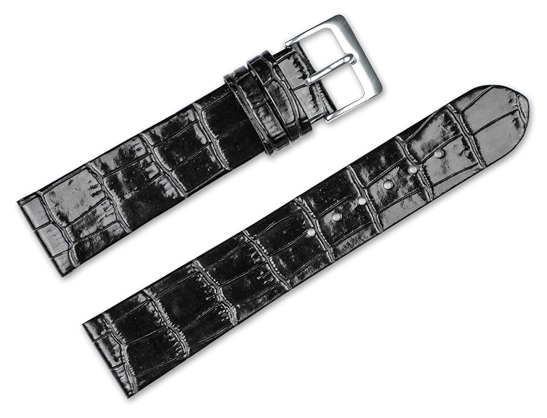 16 mm交換用レザー腕時計バンド – Alligator Grainフラット – ブラック腕時計ストラップ  B072KYZ8ZY