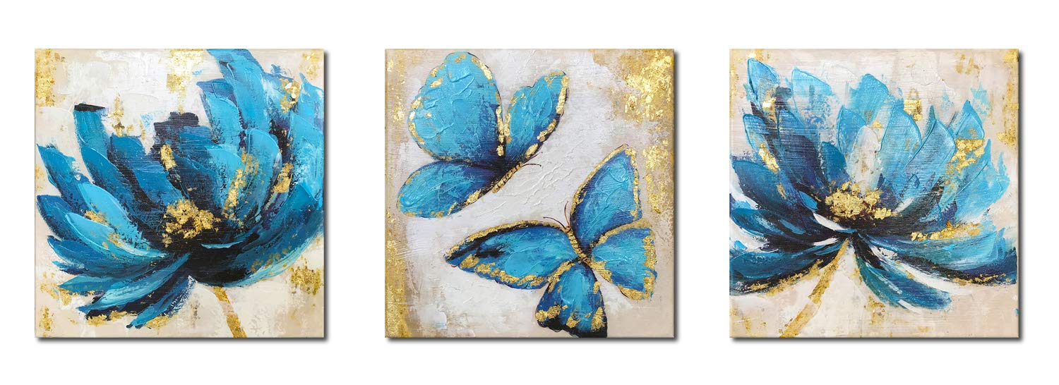 Paimuni Blue Tea Flower and Butterfly Prints 3 Panel with Embellishment Oil Painting Textured Gold Blue Floral Canvas Wall Art Ready to Hang 12x12 Inches