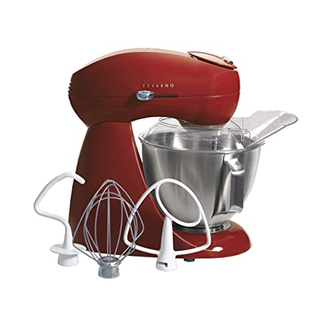 Hamilton Beach Eclectrics All-Metal 12-Speed Electric Stand Mixer,  Tilt-Head, 4 5 Quarts, Pouring Shield, Red (63232),