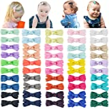 """DeD 50PCS 2"""" Tiny Baby Girls Hair Bow Solid Color Grosgrain Ribbon Baby Bows Alligator Clips for Girls Infants Toddlers…"""