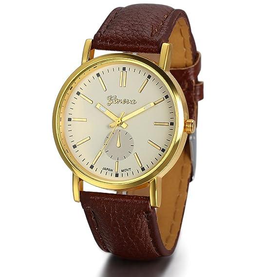 Jewelrywe Relojes de Hombre Mujer Retro Vintage Clásico de Cuero Marrón, Esfera Oro Blanca Elegante, Reloj de Pulsera Marrón: Amazon.es: Relojes
