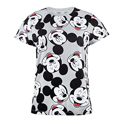 Disney Mickey Mouse Character All Over Print Women's/Femmes Boyfriend Fit T-Shirt: Ropa y accesorios