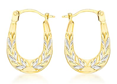 Carissima Gold 9ct 2 Colour Gold Patterned Creole Earrings GAmom5Pb