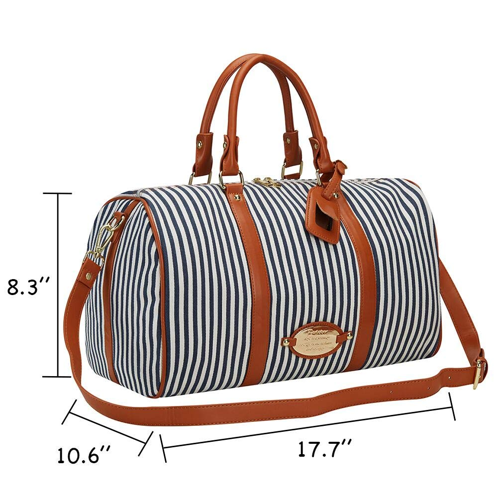 Amazon.com   Womens Overnight Bag with Leather Shoulder Strap, LXY Canvas  Weekender Travel Bag for Women Carry on Duffle Tote Underseat Bag(Blue)    Travel ... 0a2020144f