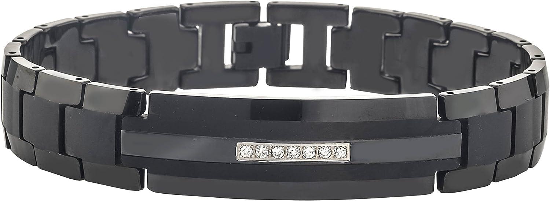 AX Jewelry Mens Natural Diamond Black Tungsten Carbide ID Bracelet (0.15 cts)