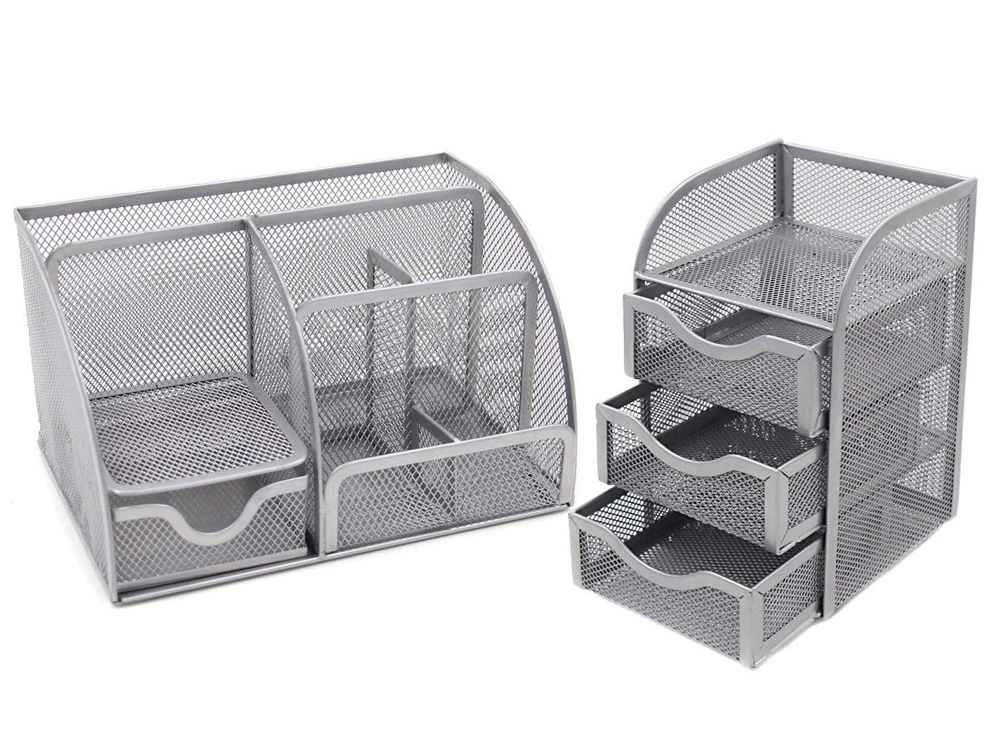 Multifunctional Stationery Organiser Pen Pot Caddy and 3 Small Drawer Mini Chest Office Supplies Holder Accessories Storage Cube Box,Silver Generic Mesh Desk Tidy 2 Piece Set