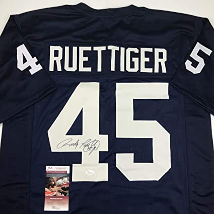 1626fc821 Autographed Signed Rudy Ruettiger Notre Dame Blue College Football Jersey  JSA COA