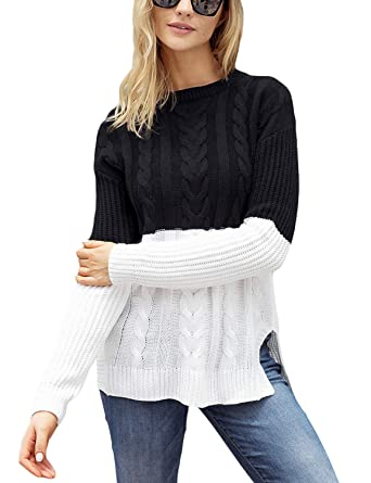 Lookbook Store Women s Casual Long Sleeve Crew Neck Cable Knit Colorblock Pullover  Sweater Black White Size 9b171cbcb