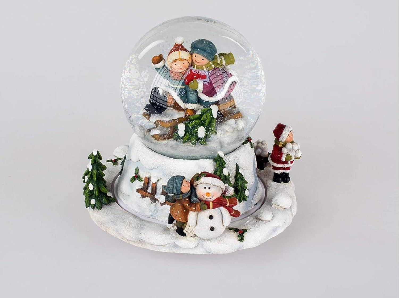 HGS HGS HGS Formano Schneekugel Spieluhr manuell Stille Nacht Kinder Schneemann, 15 cm Weihnachten Advent Geschenk Nostalgie 663272