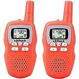 Virhuck 2 x Klassisches Walkie-Talkie Set Kinder Funkgeräte mit LED-Leuchtanzeige 3km Reichweite, Lange Reichweite Klare Stimme Portable Walkie Talkies- Orange