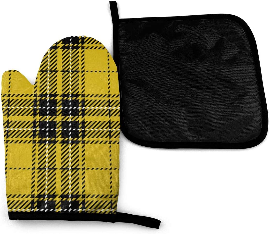 Lozeow Mitts Yellow Black Scottish Woven Tartan Plaid Oven Mitts and Potholders BBQ Gloves-Oven Mitts and Pot Holders with Waterproof Polyester