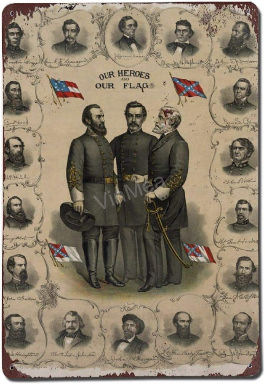 """Vintage Poster Metal Sign Confederate-Generals-of-The-Civil-War-War-is-Hell-Store Retro Metal Tin Sign Wall Decor 8"""" X 12"""""""