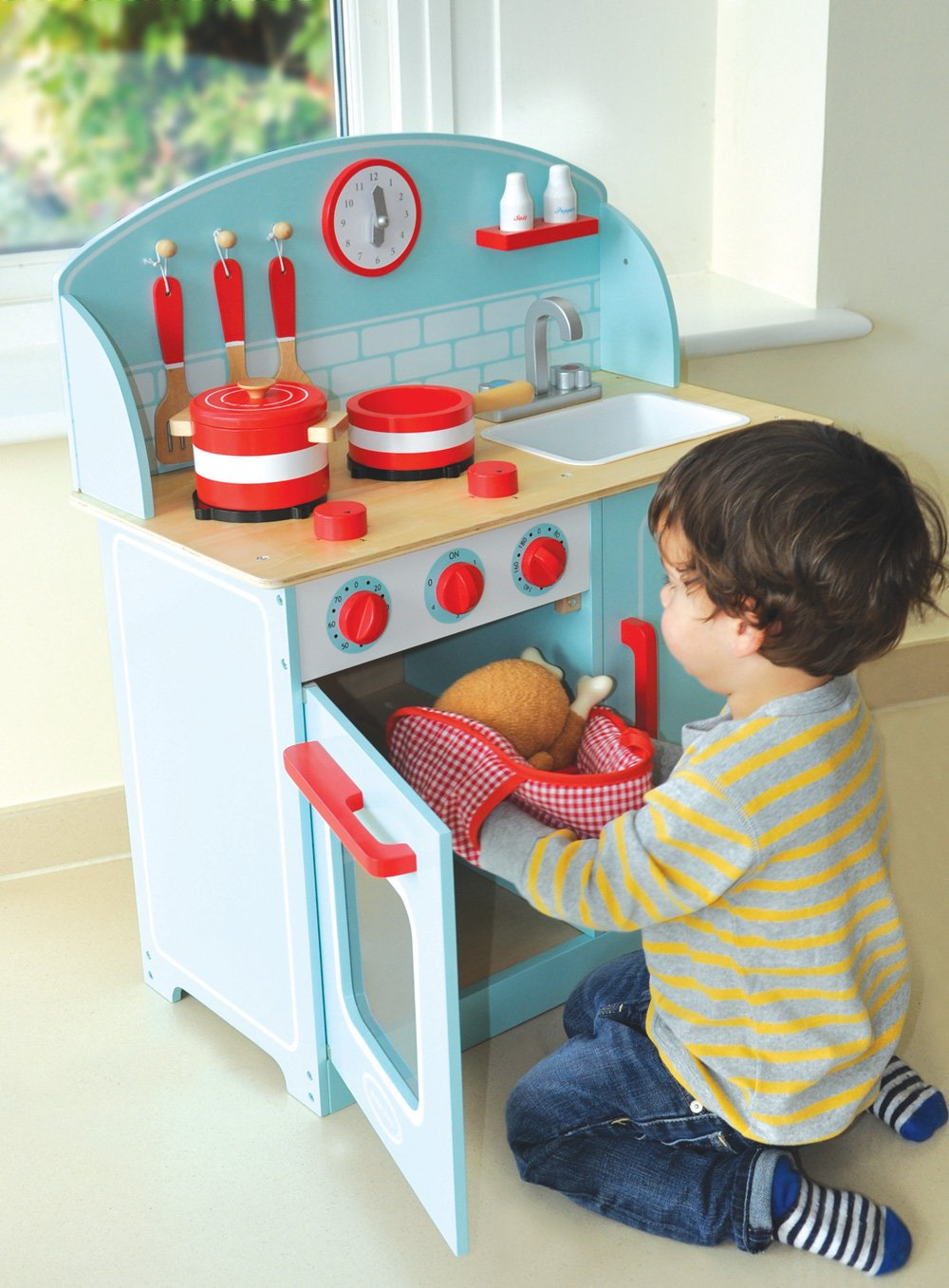 Red Pretend Play Wooden Kitchen Unit with Movable Parts annd Accessories Indigo Jamm Mini Cooker