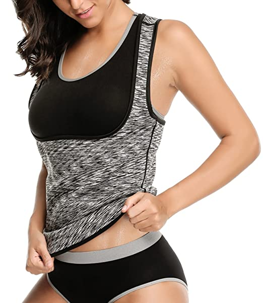 4afc8a0b02 LAZAWG Women Sweat Slimming Vest Neoprene Sauna Suit Workout Weight Loss  Body Shaper Tank Top No