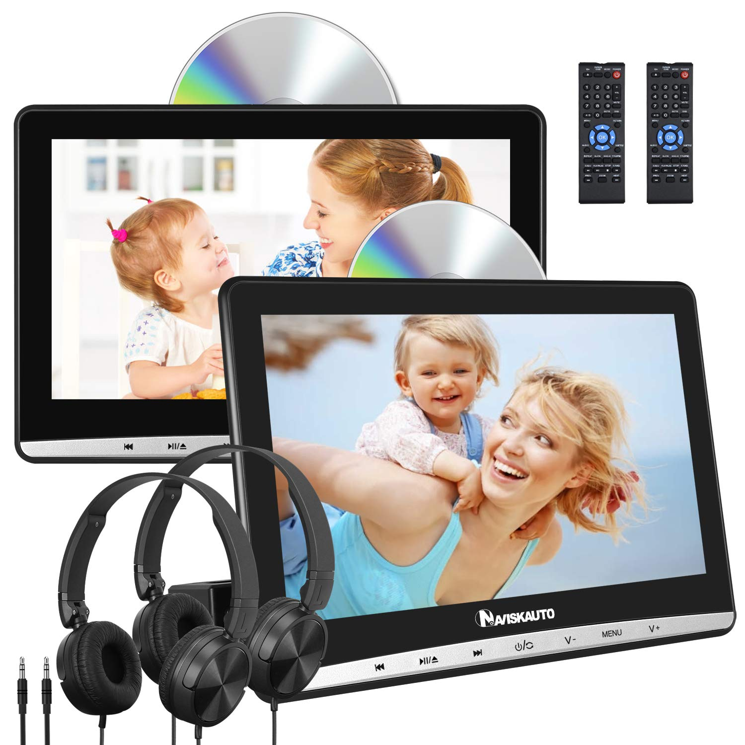 NAVISKAUTO 10.1'' Dual Car DVD Players with 2 Headphones and Inhalation Drive Support Same/Different Video Playing, AV Out & in, Last Memory, Region Free (2 Same Headrest DVD Players) by NAVISKAUTO