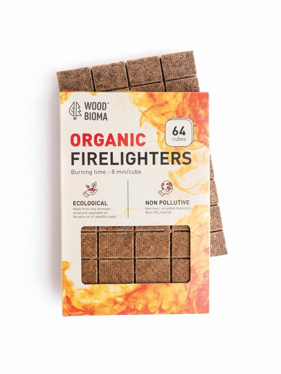 Woodbioma Organic Firelighters Stove 32 Cubes, Fire Starter Logs Charcoal Grill BBQ Barbecue Duraflame Kamado Big Green Eggs Quick Start Fireplace Primo Smokers Hiking, Waterproof