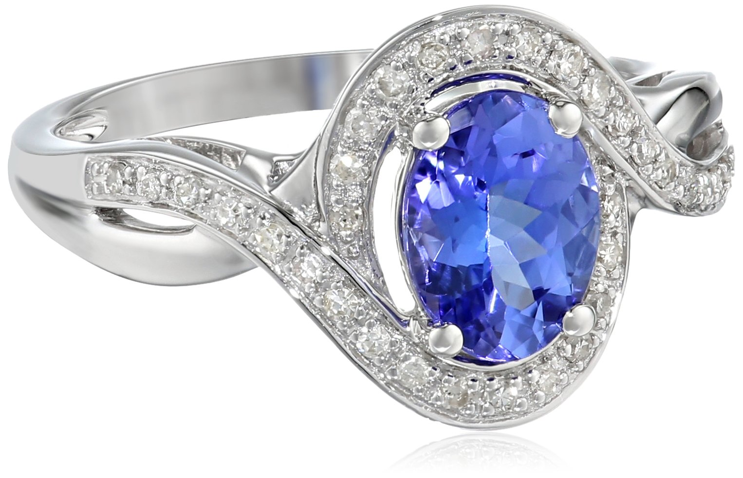 14k White Gold Tanzanite and Diamond (1/6cttw, H-I Color, I2-I3 Clarity) Oval Ring, Size 7