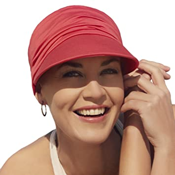 Gorra oncológica ultra transpirante Bella con visera y Technology 37.5® color rojo para mujeres en