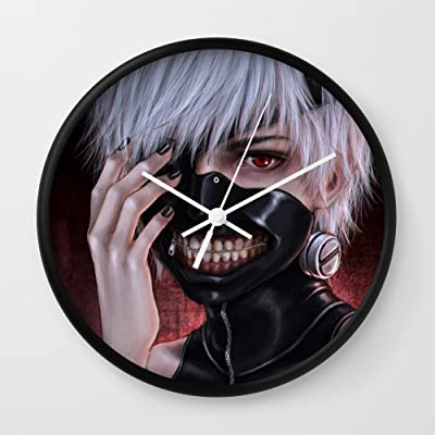 Society6 Ken Kaneki Wall Clock Black Frame, White Hands